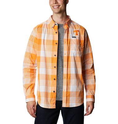 Tennessee Columbia Men's Rapid Rivers Plaid Long Sleeve Shirt
