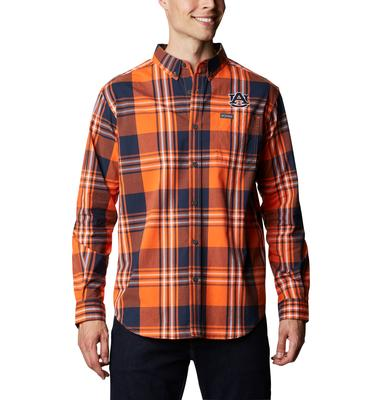 Auburn Columbia Men's Rapid Rivers Plaid Long Sleeve Shirt