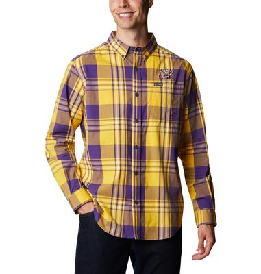 LSU Columbia Men's Rapid Rivers Plaid Long Sleeve Shirt