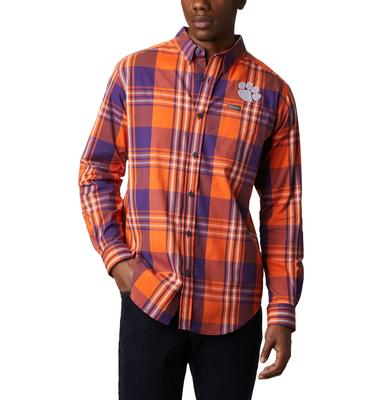 Clemson Columbia Men's Rapid Rivers Plaid Long Sleeve Shirt
