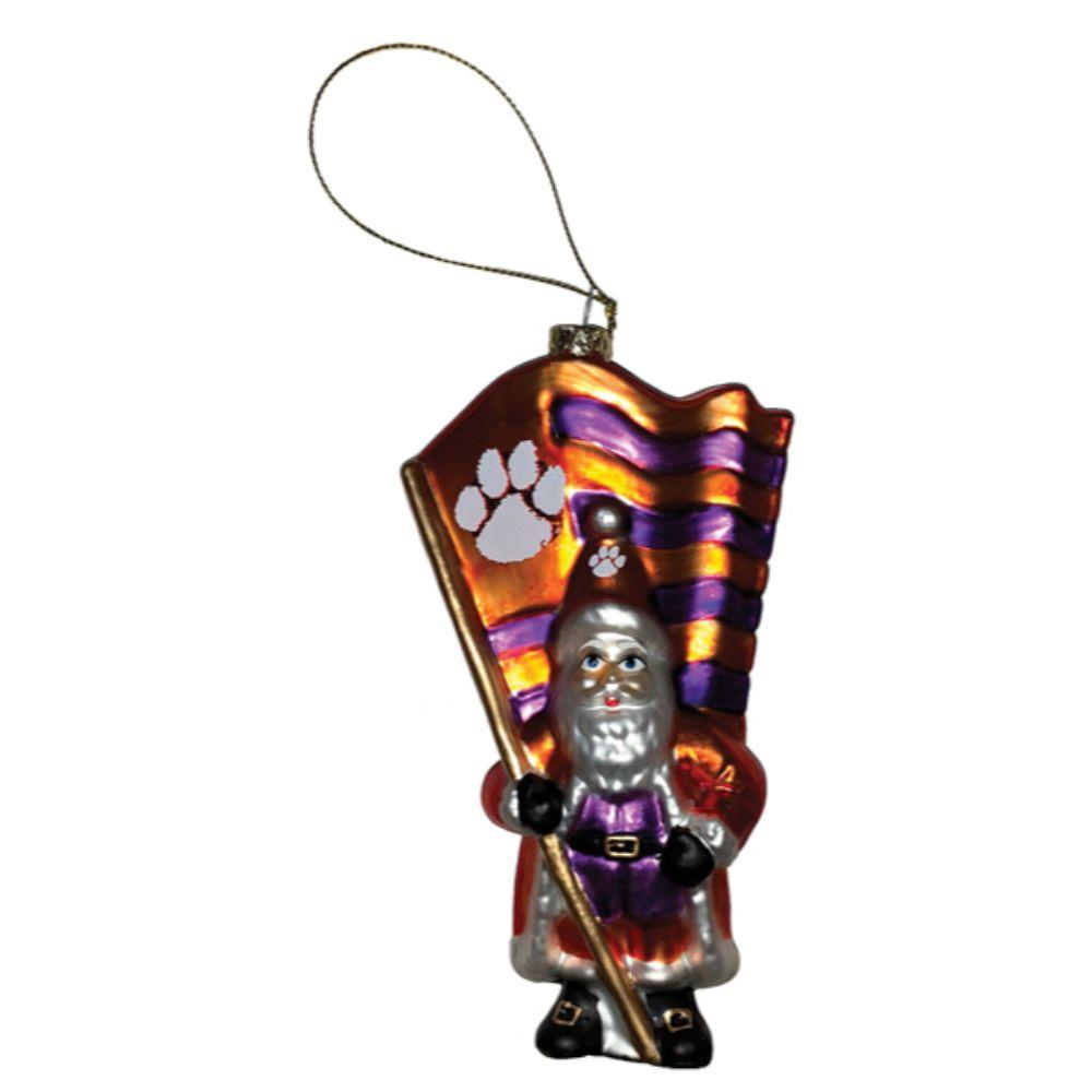 Clemson Glass Santa Ornament