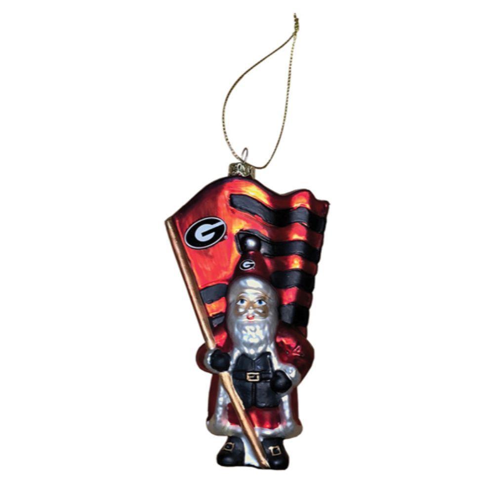 Georgia Glass Santa Ornament