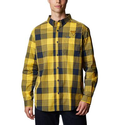 West Virginia Columbia Men's Rapid Rivers Plaid Long Sleeve Shirt