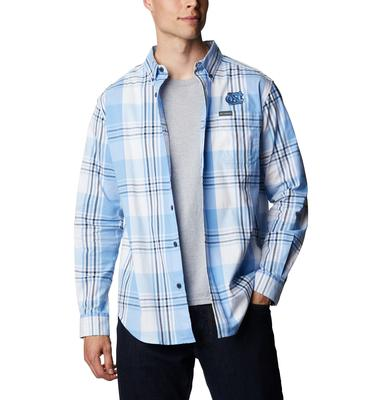 UNC Columbia Men's Rapid Rivers Plaid Long Sleeve Shirt