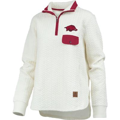 Arkansas Women's Pressbox Caribou Quilted 1/4 Zip