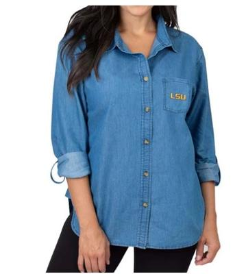 LSU University Girls Women's Denim Shirt