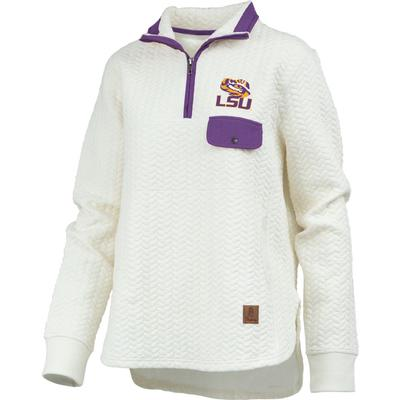 LSU Women's Pressbox Caribou Quilted 1/4 Zip