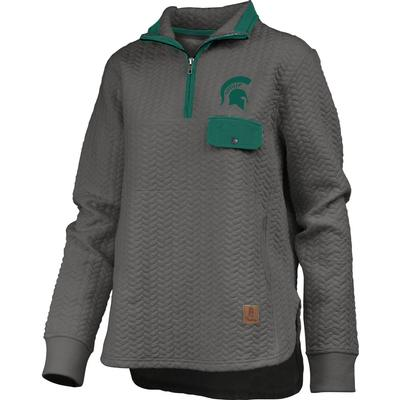 Michigan State Women's Pressbox Caribou Quilted 1/4 Zip