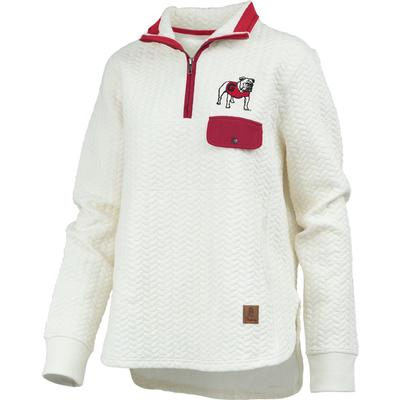 Georgia Women's Pressbox Caribou Quilted 1/4 Zip