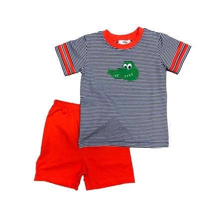 Ishtex Toddler Royal, Orange, and White Striped Tee & Short Set