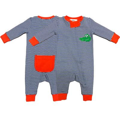 Ishtex Infant Striped Zip Up Pajamas