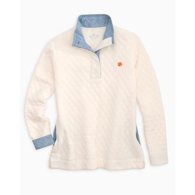 Clemson Women's Southern Tide Quilted Pullover