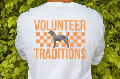 Tennessee Volunteer Traditions Bluetick Checkerboard White Long Sleeve Tee