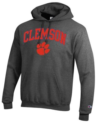 Clemson Champion Fleece Screen Print Arch with Logo Hoodie