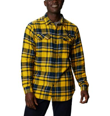 West Virginia Columbia Men's Flare Gun Flannel Plaid Long Sleeve Shirt