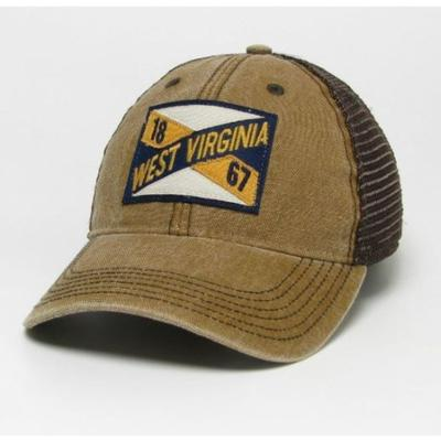 West Virginia Legacy Frayed X Patch Trucker Hat