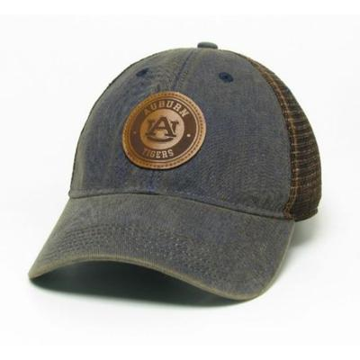 Auburn Legacy Leather Circle Patch Trucker Hat