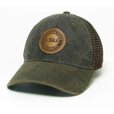 LSU Legacy Leather Circle Patch Trucker Hat