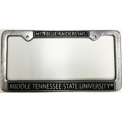 Mtsu License Plate Frame Pewter Mt/Blue Raiders