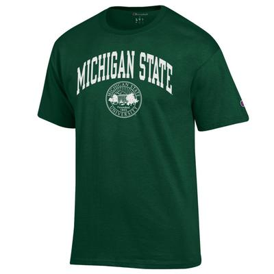 Michigan State Champion Men's Arch College Seal Tee Shirt