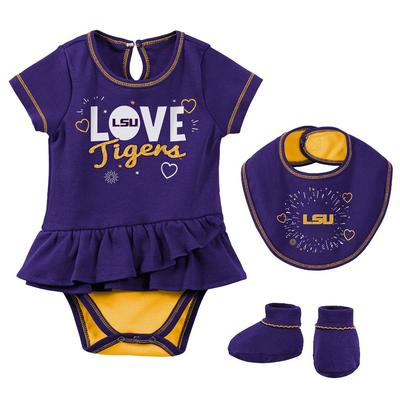 LSU Infant Girl Creeper Bib Bootie Set