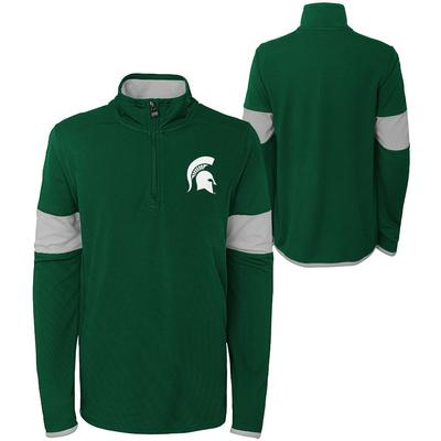 Michigan State YOUTH Field Poly Mesh 1/4 Zip Pullover