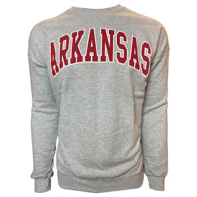 Arkansas Arch Logo Crew Sweatshirt SPORT_GREY