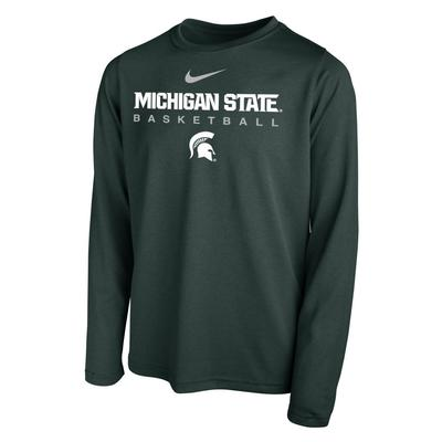 Michigan State YOUTH Nike Basketball Hook LS Legend Tee
