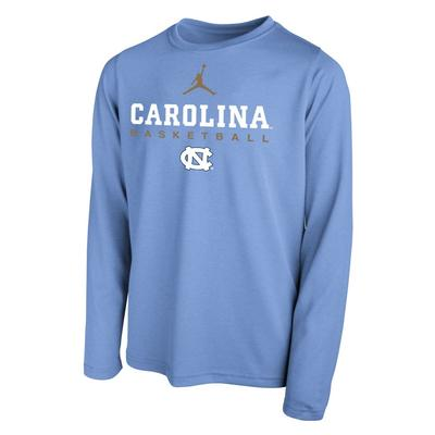 North Carolina YOUTH Nike Basketball Hook LS Legend Tee