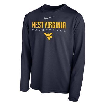 West Virginia YOUTH Nike Basketball Hook LS Legend Tee