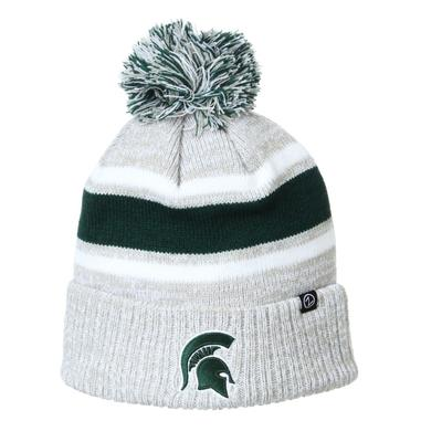 Michigan State Zephyr Striped Pom Beanie