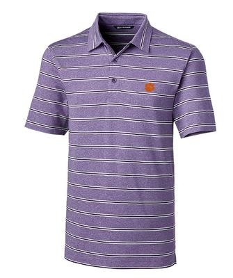 Clemson Cutter & Buck Men's Forge Heather Stripe Polo