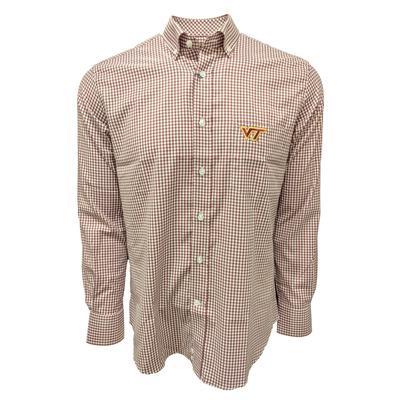 Virginia Tech Stretch Gingham L/S Woven Shirt