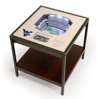 West Virginia Milan Puskar Stadium Lighted End Table
