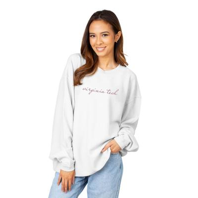 Virginia Tech Chicka-D Women's Embroidered Script Corded Sweatshirt