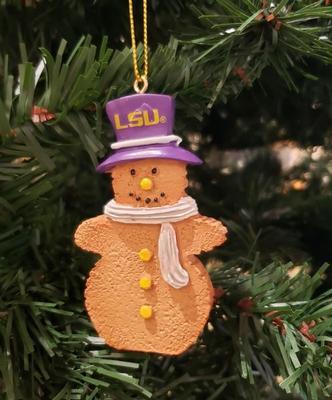 LSU Resin Cookie Dough Snowman Ornament
