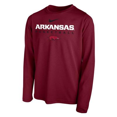 Arkansas Nike Youth Hook Basketball Long Sleeve Legend Tee