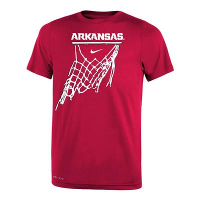 Arkansas Nike Youth Basketball Net Icon Short Sleeve Legend Tee