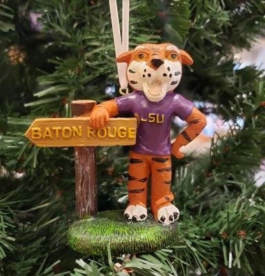 LSU Mascot with Sign Ornament