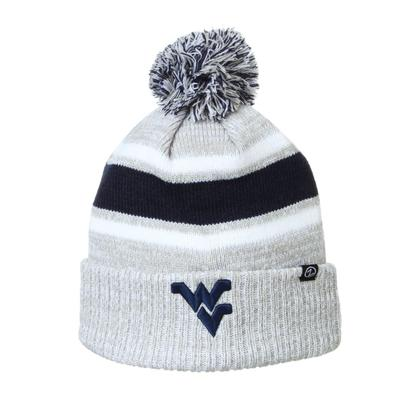West Virginia Zephyr Striped Pom Beanie