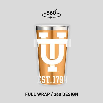 Tennessee Gametime Sidekicks Interlocking UT 16 oz Pint Glass Tumbler