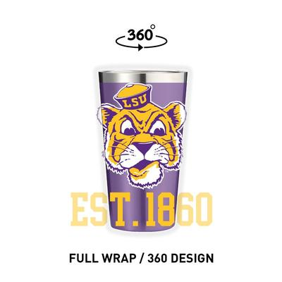 LSU Gametime Sidekicks Cartoon Mike 16 oz Pint Tumbler