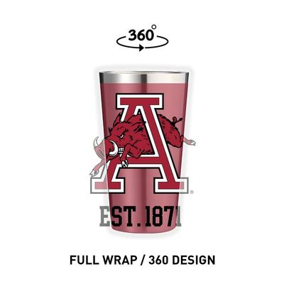 Arkansas Gametime Sidekicks Running Hog 16 oz Pint Tumbler
