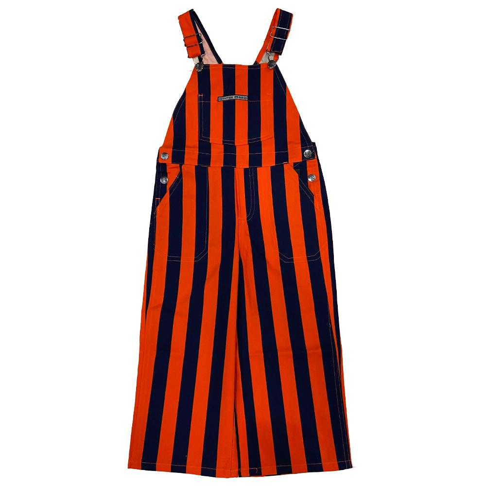 Navy And Orange Toddler Game Bibs Striped Overalls