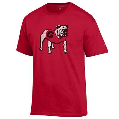 Georgia Champion Men's Distressed Standing Bulldog Tee Shirt