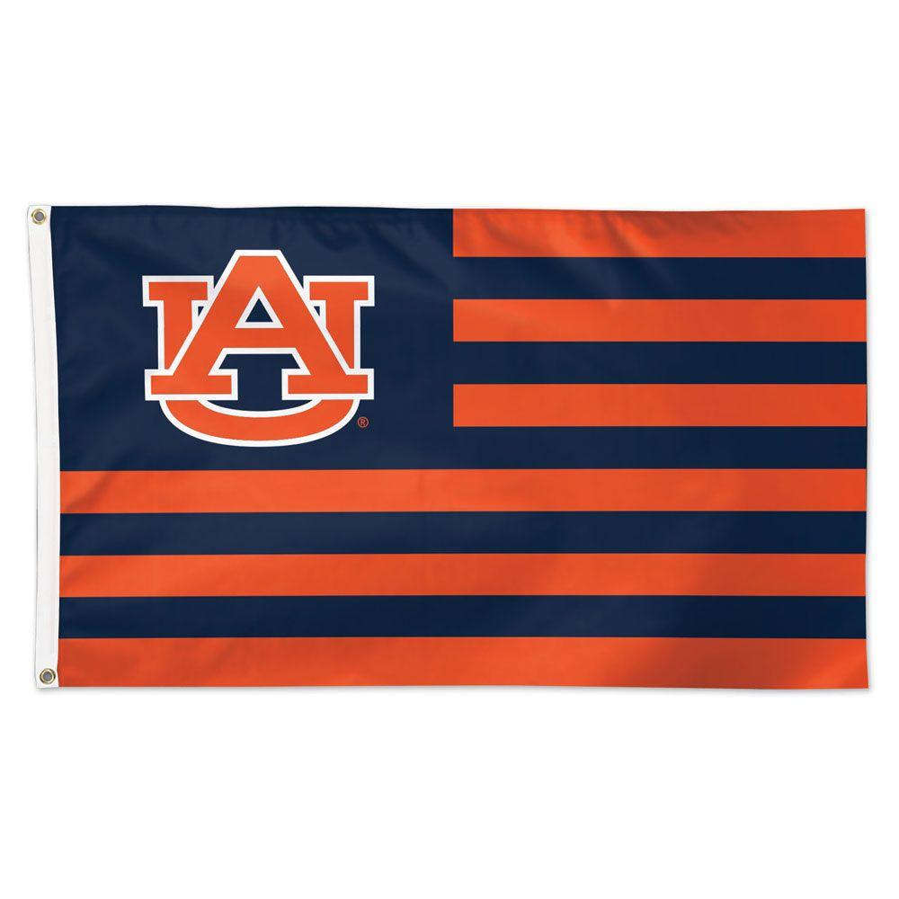 Auburn Logo And Stripes Flag 3 ' X 5 '