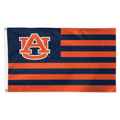 Auburn Logo and Stripes Flag 3' x 5'