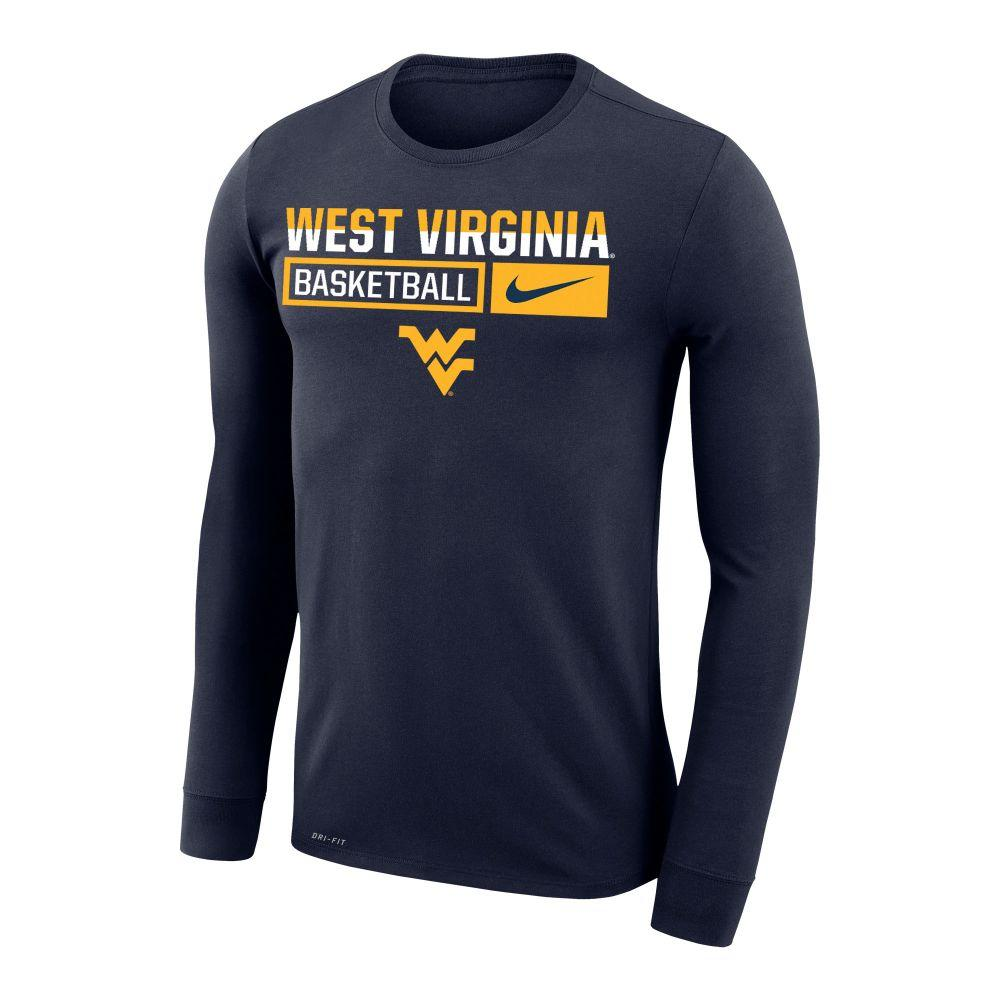 West Virginia Nike Men's Basketball Dri- Fit Legends Long Sleeve Tee