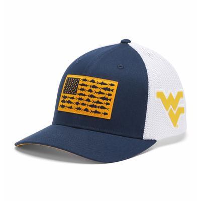 West Virginia Columbia PFG Fish Flag Mesh Hat