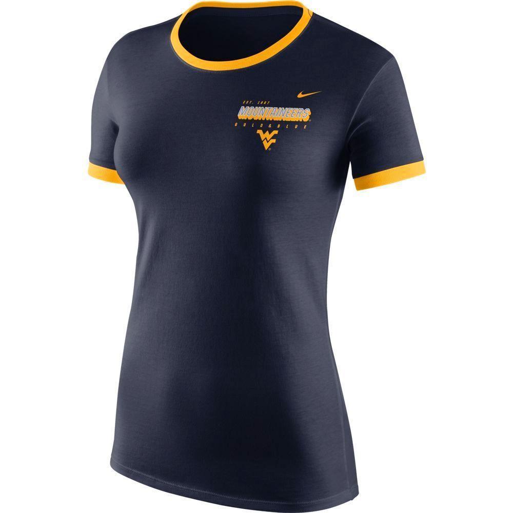 West Virginia Nike Women's Logo Ringer Short Sleeve Tee